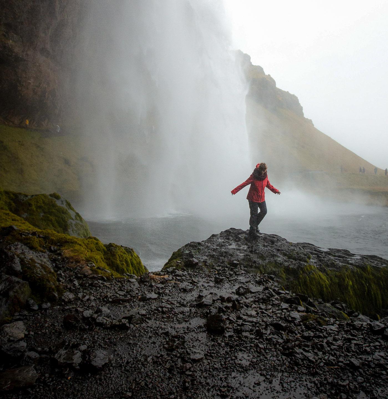 Seljalandsfoss waterfall shower. Hidden Iceland. Photo by Dennis Stever. Feature