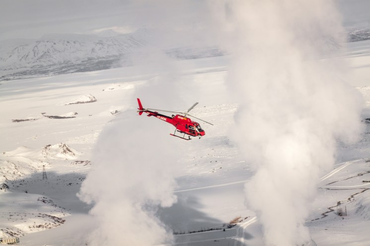 Norðurflug Geothermal Helicopter Tour in winter