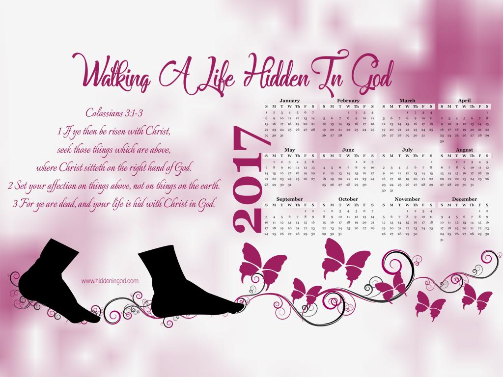 Hidden in God 2017 full year calendar