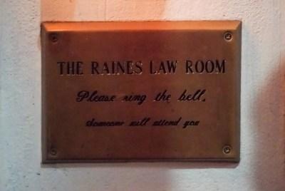 Raines Law Room Street Sign