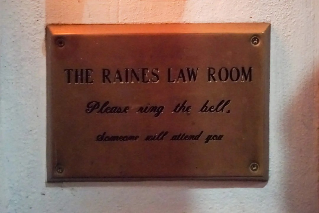 Raines Law Room NYC sign