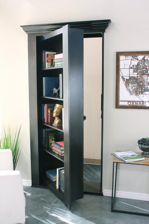 Secret Bookcase Door opened & Hidden Bookcase Doors - Secure u0026 Custom - High Tech Secret Bookcases