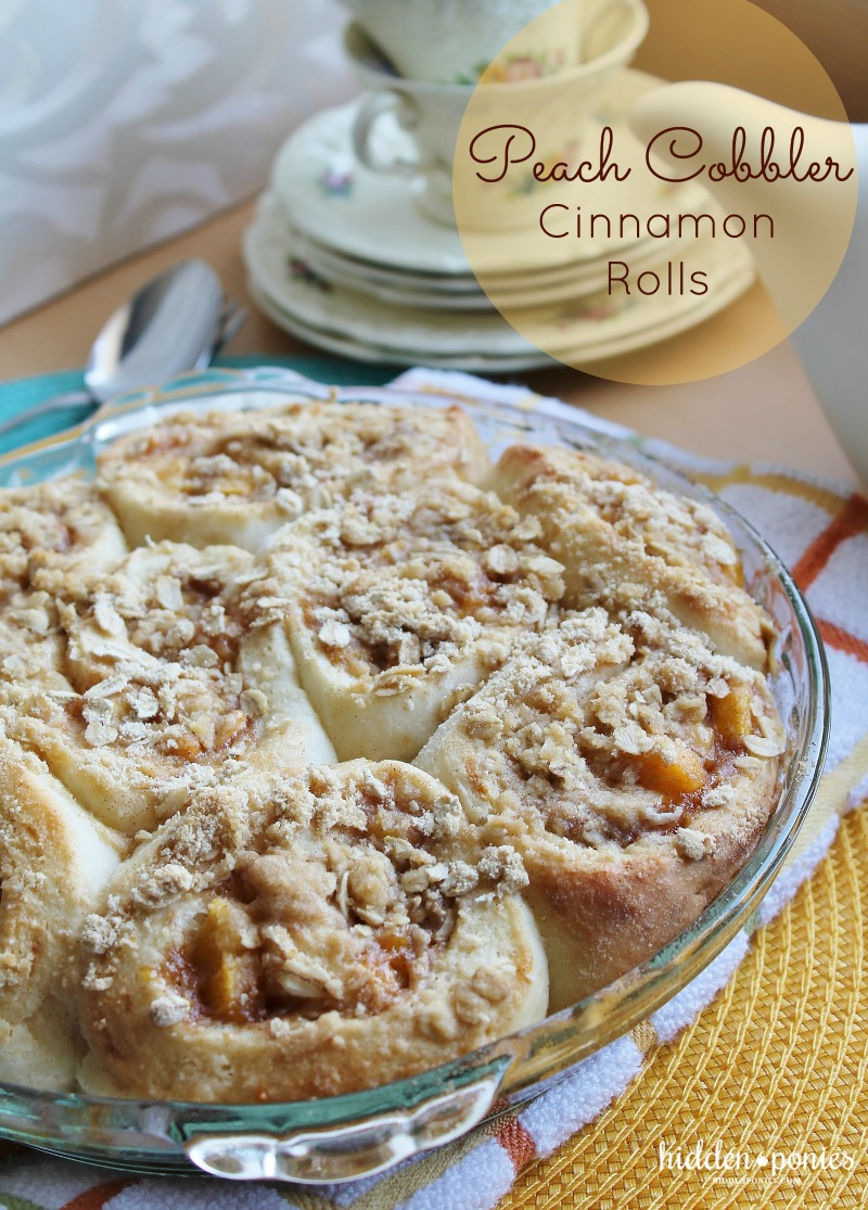 Peach Crumble Cinnamon Rolls