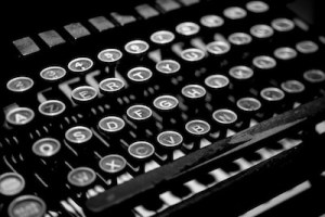 Black and white picture of old type writer keys