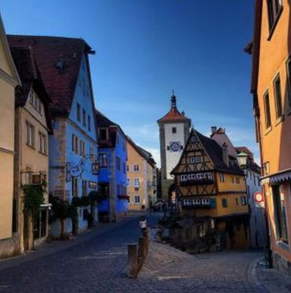 Street and medieval tower in Rothenburg
