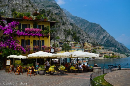 Restaurant at the harbour of Limone