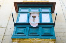 Blue oriel with deco in Valletta