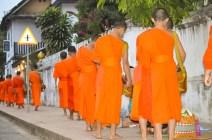 Laotian monchs recieving alms