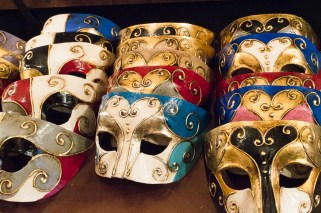 Colorful masks at Mistero Buffo in Venice