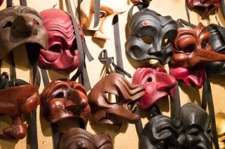 Theater masks at Mistero Buffo in Venice