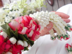 Flower chain at the wedding in Thailand