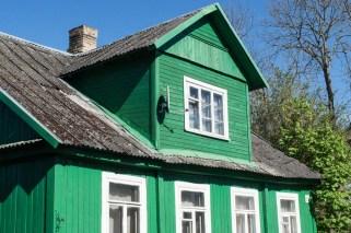 green wooden house in Trakai
