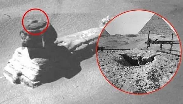 Стари снимки показват входове в Сфинкса, които впоследствие са прикрити