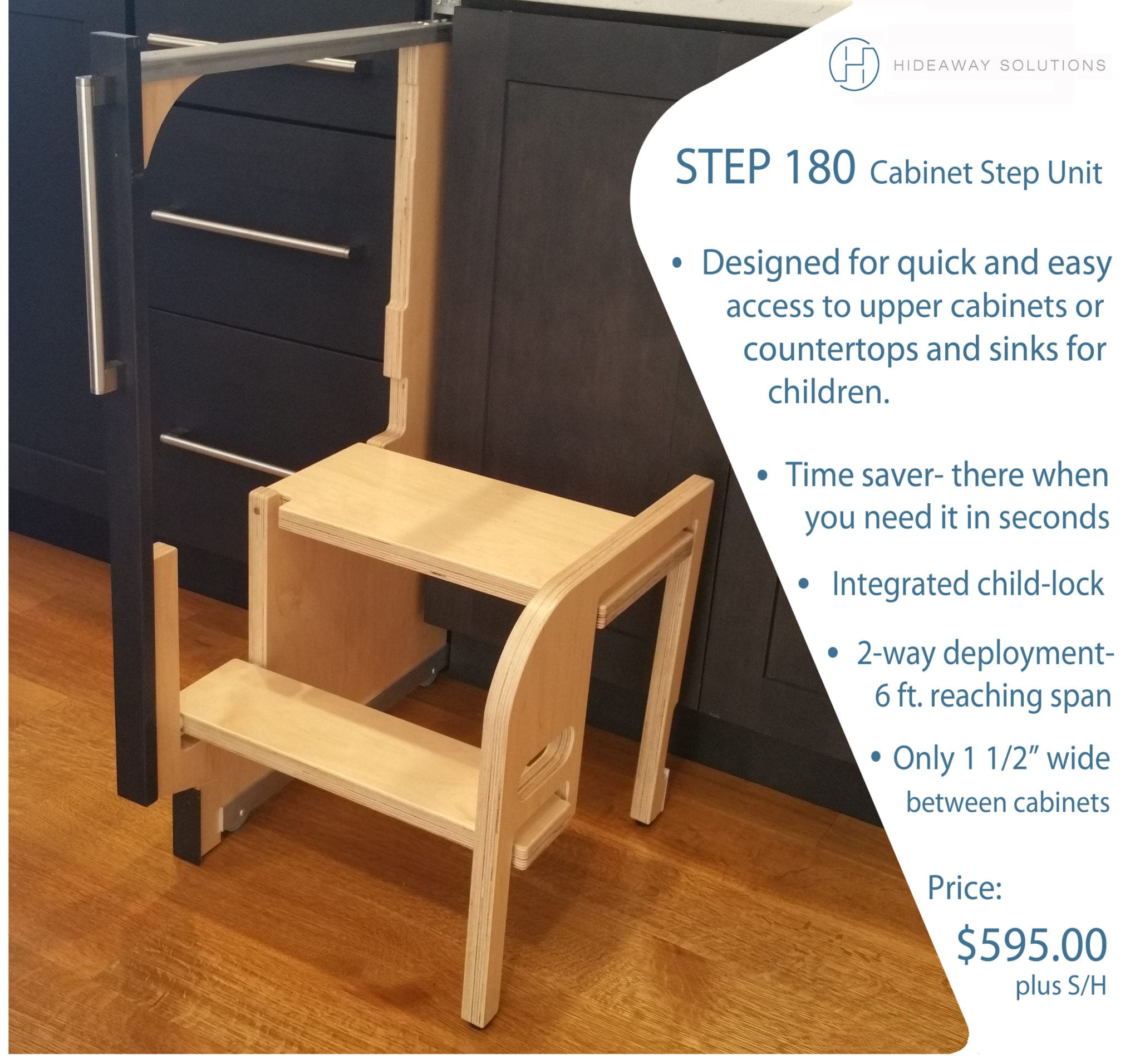 Hideaway Solutions Step 180 Cabinet Step Stool
