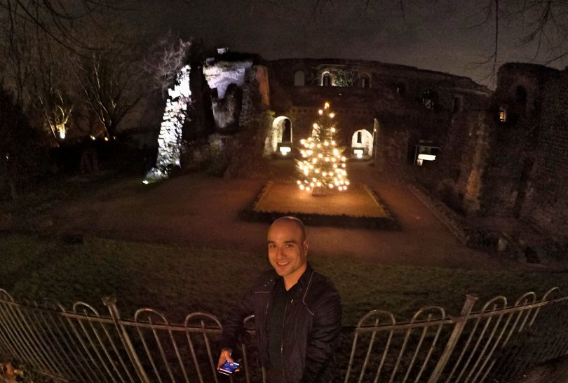 The ruins, the fence, me and a Christmas tree!