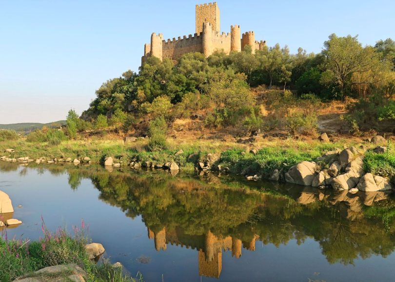 A beautiful medieval castle on a small islet in River Tagus Castle of Almourol, Praia do Ribatejo