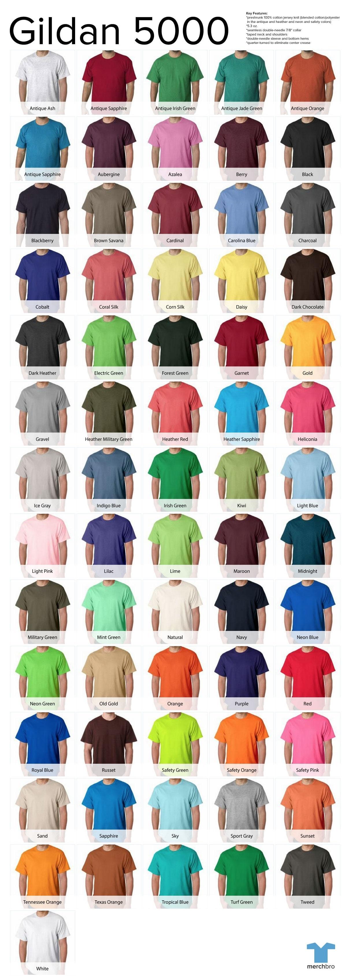2014 Gildan T Shirt Color Chart