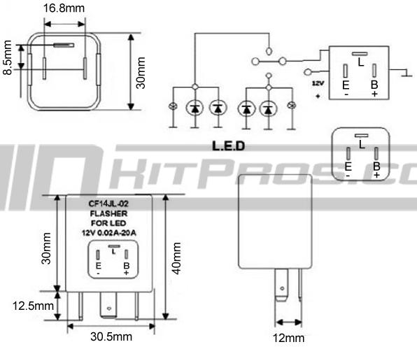 electronic flasher relay wiring diagram cf14  ep35  led flasher relay module  cf14  ep35  led flasher relay module