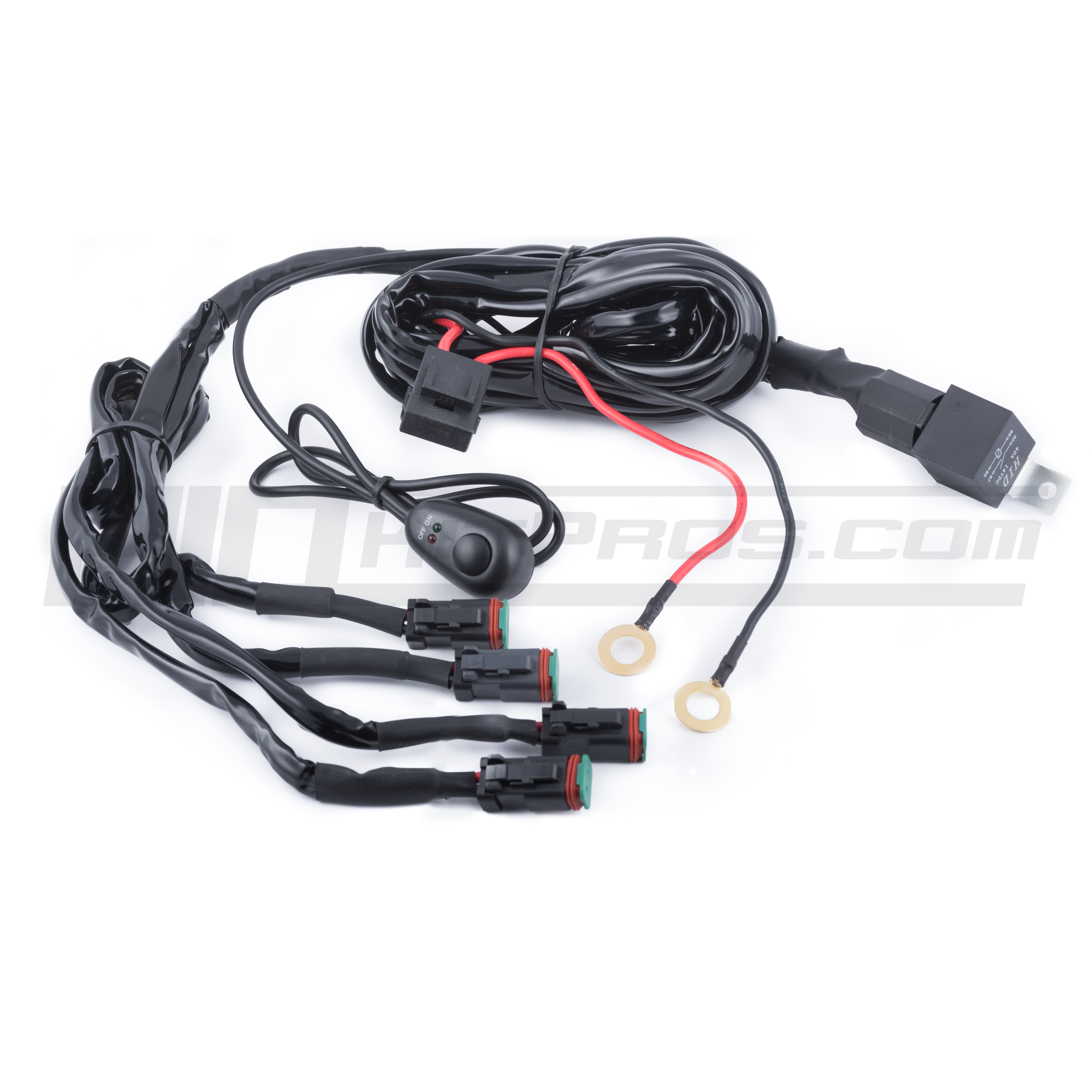 TOTRON Quad Output Wiring Harness | HID Kit Pros on universal fuse box, universal fuel rail, construction harness, universal steering column, universal miller by sperian harness, universal radio harness, universal air filter, universal battery, universal ignition module, lightweight safety harness, universal heater core, stihl universal harness, universal equipment harness,