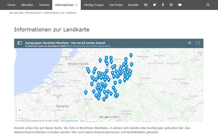 Screenshot der integrierten Landkarte