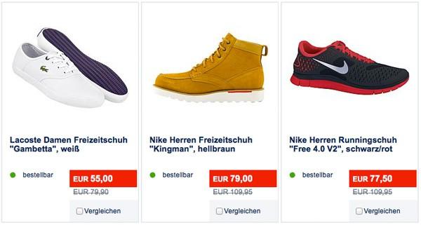 KARSTADT SPORT Sale z.B. Nike Free 4.0 günstiger für 77,50
