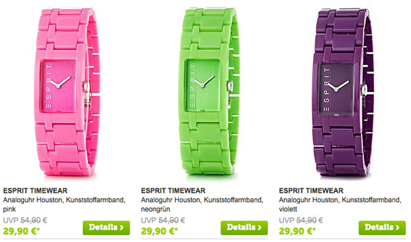 ESPRIT Uhren für Männer und Frauen günstiger kaufen