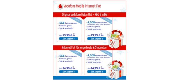 günstige VODAFONE Datenflat mit Auszahlung