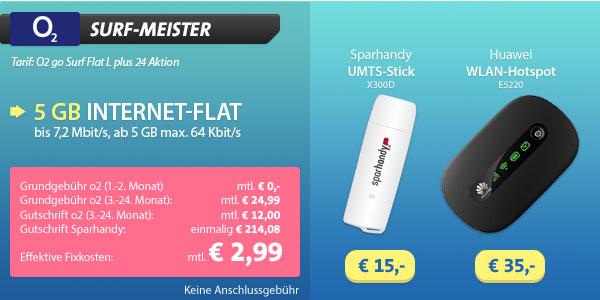 5GB Datenvolumen für günstige 2,99 Euro im o2 Netz