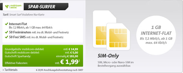 günstiger Smartphonetarif im Vodafone Netz