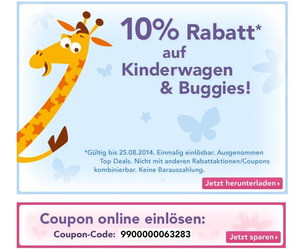 Toys´R´US Gutschein 10% Rabatt Kinderwagen und Buggies