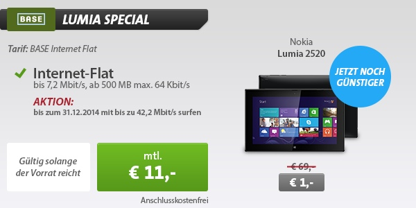 Base Internetflat mit Nokia 2520 Tablet