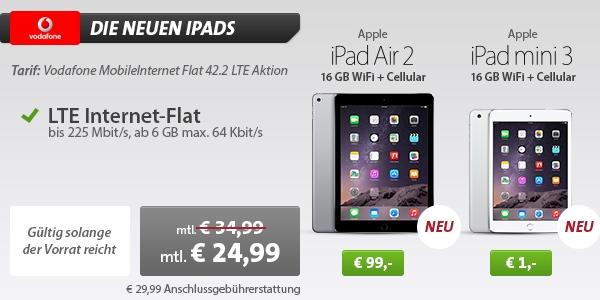 Apple iPad Air 2 und Apple iPad mini 3 mit Vertrag