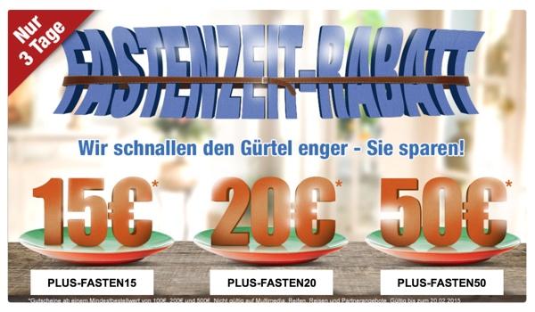 plus.de Gutschein Gutscheincode Februar 2015 50 Euro Rabatt