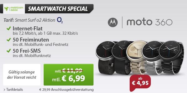 Smartwatch MOTO 360 mit Smartphone Vertrag günstiger