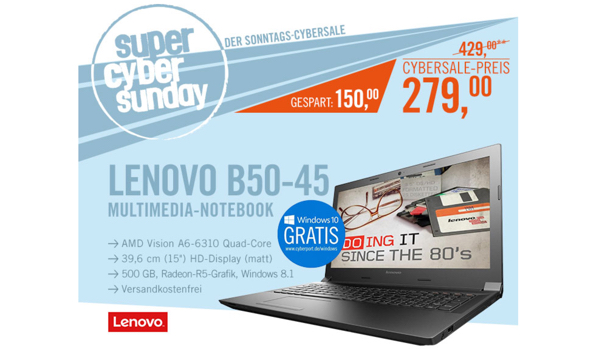 Lenovo B50-45 MCD32GE günstiges 15 Zoll Notebook unter 300 Euro