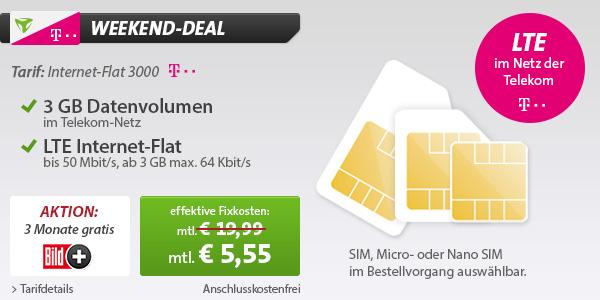 günstiger Datentarif im Telekom LTE Netz unter 6 Euro