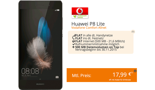 Vodafone Allnet Flat 1GB Huawei P8 lite