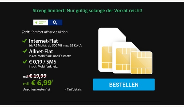 Allnet Flat sehr günstig unter 7 Euro im Monat mit 500MB Surfvolumen