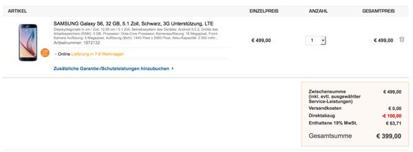 Samsung Galaxy S6 32GB schwarz günstiger kaufen ohne Vertrag