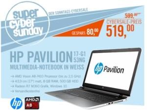 HP Pavilion 17-g153ng 17 Zoll Notebook unter 600 Euro
