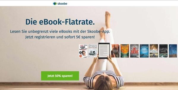 Skoobe eBook Flatrate 50% günstiger