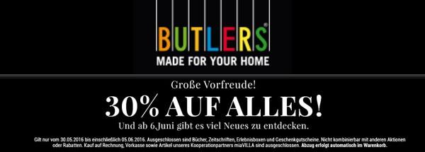 BUTLERS Gutschein 30% Rabatt auf alles