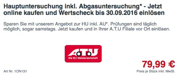 ATU Gutschein TÜV Abgasuntersuchung Hauptuntersuchung