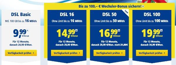 1&1 DSL Tarif günstiger Wechselbonus