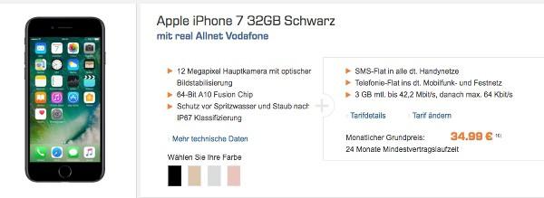 Vodafone Vertrag mit iPhone 7