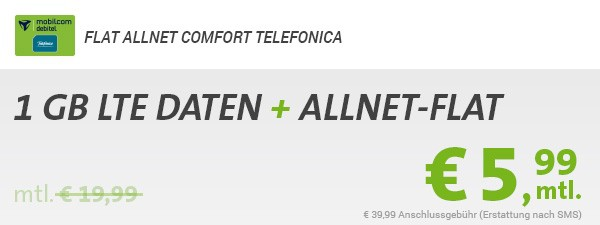 SIM only Allnet Flat 1GB Surfvolumen