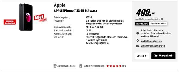 Apple iPhone 7 32 GB günstiger kaufen