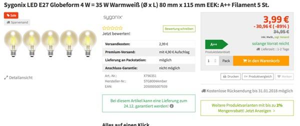 5 LED Leuchten E27 günstiger kaufen