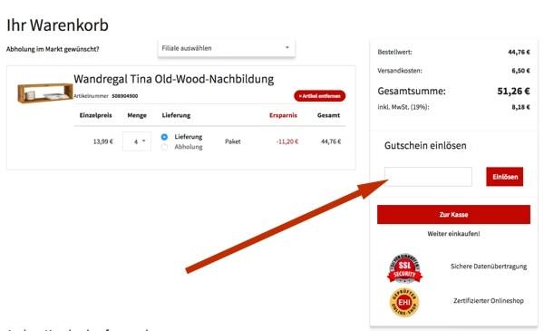 POCO Gutschein einlösen onlineshop