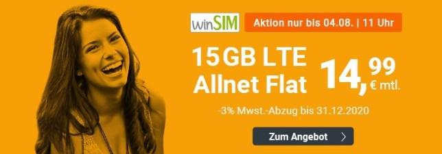 günstiger Handyvertrag 15 GB LTE